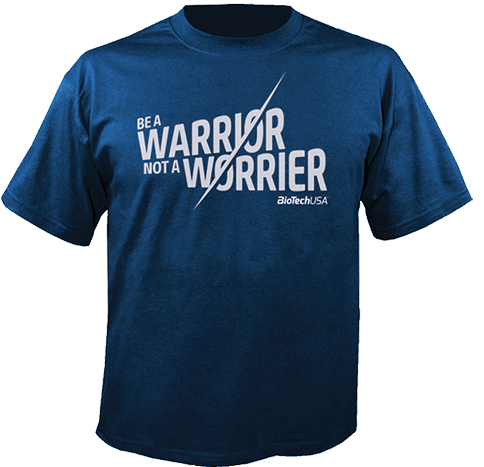 "BIOTECH USA T-SHIRT ""WARRIOR NOT A WORRIER"" - Blue Image"