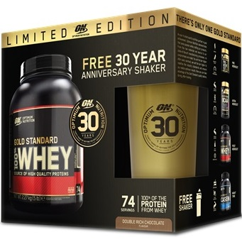 OPTIMUM NUTRITION GOLD STANDARD 100% WHEY - 2270 g + Gold Stainless Shaker Image