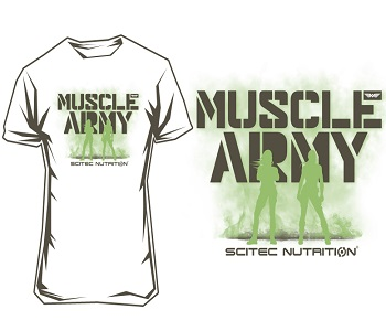"SCITEC MUSCLE ARMY WOMEN T-SHIRT ""WHITE"" - White Image"