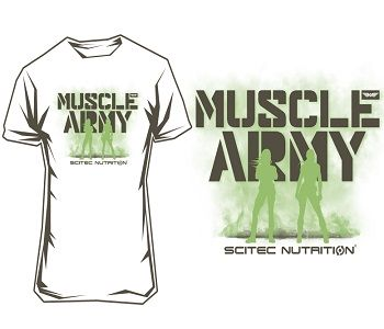 """SCITEC MUSCLE ARMY WOMEN T-SHIRT """"WHITE"""" - White Image"""